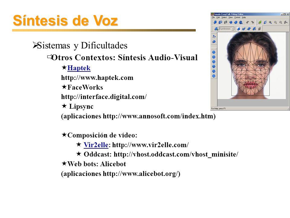 Síntesis de Voz Sistemas y Dificultades Otros Contextos: Síntesis Audio-Visual Haptek http://www.haptek.com FaceWorks http://interface.digital.com/ Li