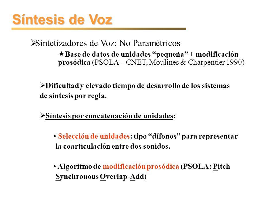 Síntesis de Voz Sistemas y Dificultades Sistemas Investigación y Distribución Libre: Festival http://www.cstr.ed.ac.uk/projects/festival/ MBROLA http://tcts.fpms.ac.be/synthesis/mbrola/mbrola.html FreeTTS (Festival => Java) http://freetts.sourceforge.net/docs/index.php http://freetts.sourceforge.net/docs/index.php Otros Contextos: MPEG-4 & MPEG-7 Microsoft Speech API