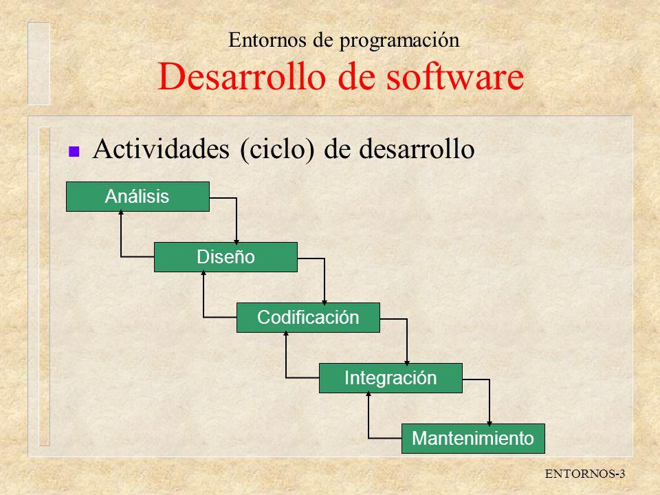 Entornos de programación ENTORNOS-3 Desarrollo de software n Actividades (ciclo) de desarrollo Análisis Diseño Codificación Integración Mantenimiento