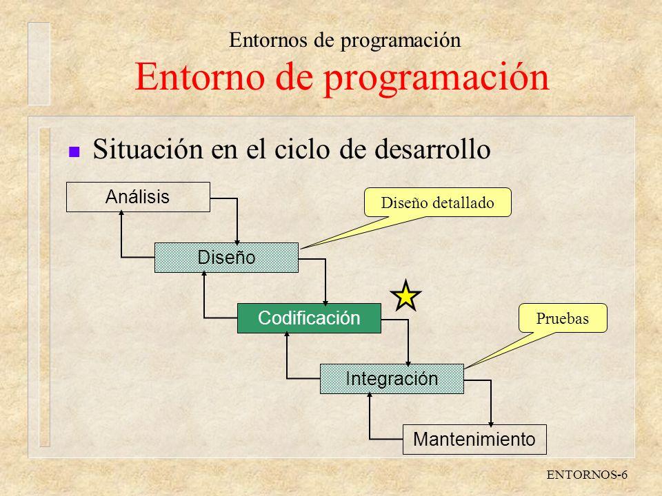 Entornos de programación ENTORNOS-6 Entorno de programación n Situación en el ciclo de desarrollo Análisis Diseño Codificación Integración Mantenimien