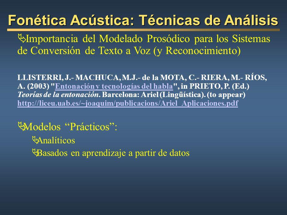 Fonética Acústica: Técnicas de Análisis Importancia del Modelado Prosódico para los Sistemas de Conversión de Texto a Voz (y Reconocimiento) LLISTERRI