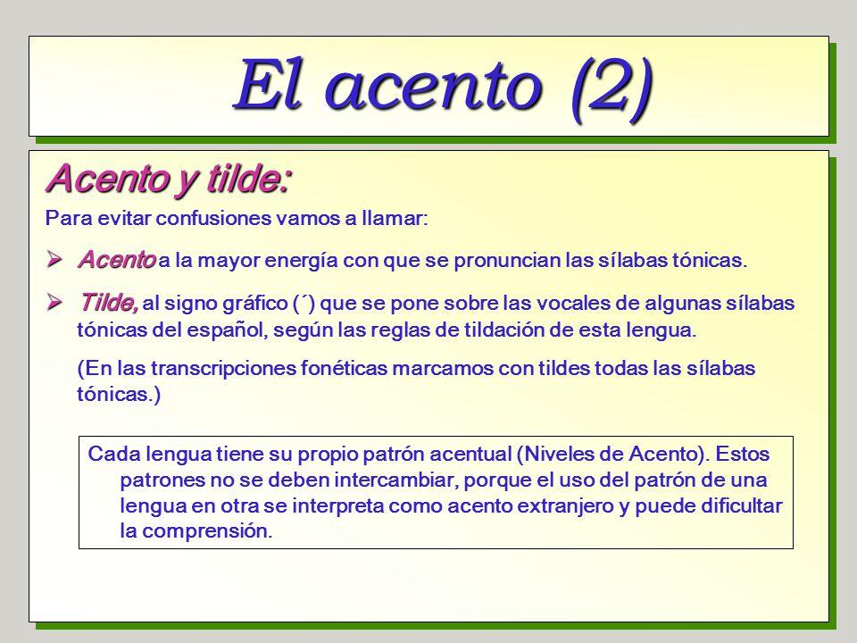 El acento (3) Carácter fonémico del acento: En español existen palabras que contienen los mismos fonemas, pero el acento primario está en sílabas diferentes.