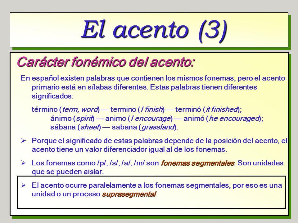 El acento (3) Carácter fonémico del acento: En español existen palabras que contienen los mismos fonemas, pero el acento primario está en sílabas dife