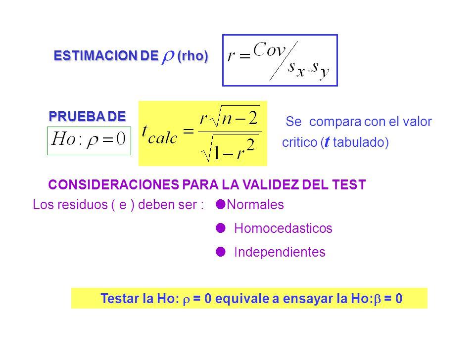 ESTIMACION DE (rho) Los residuos ( e ) deben ser : Se compara con el valor critico ( t tabulado) CONSIDERACIONES PARA LA VALIDEZ DEL TEST PRUEBA DE No