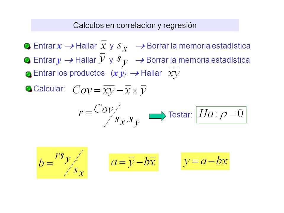 Calculos en correlacion y regresión Entrar x Hallar y Borrar la memoria estadística Entrar y Hallar y Borrar la memoria estadística Entrar los product