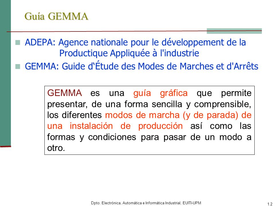 Dpto. Electrónica, Automática e Informática Industrial, EUITI-UPM 1.2 Guía GEMMA ADEPA: Agence nationale pour le développement de la Productique Appli