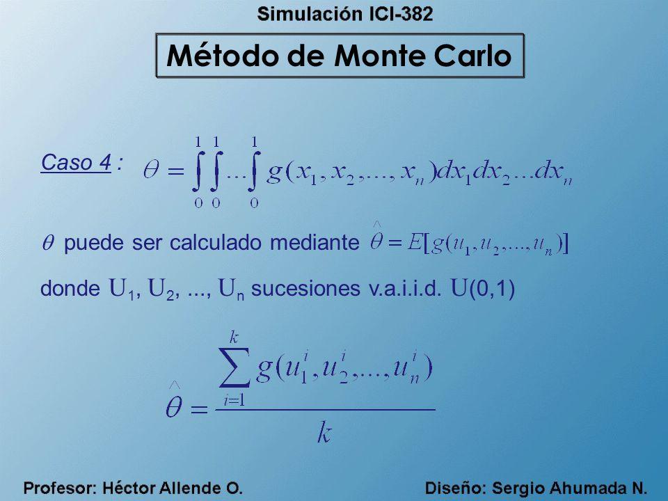 Caso 4 : puede ser calculado mediante donde U 1, U 2,..., U n sucesiones v.a.i.i.d. U (0,1) Método de Monte Carlo