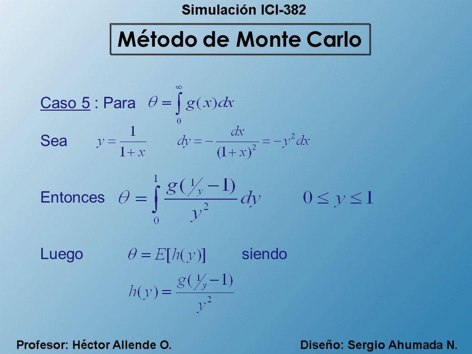 Caso 5 : Para Sea Entonces Luego siendo Método de Monte Carlo