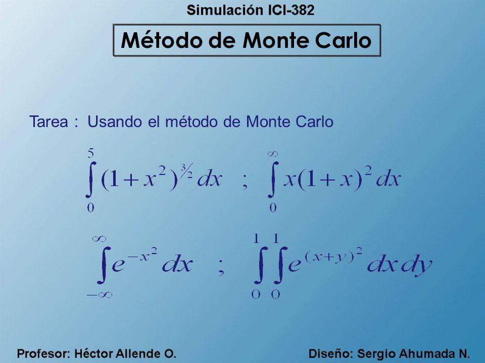 Tarea : Usando el método de Monte Carlo Método de Monte Carlo