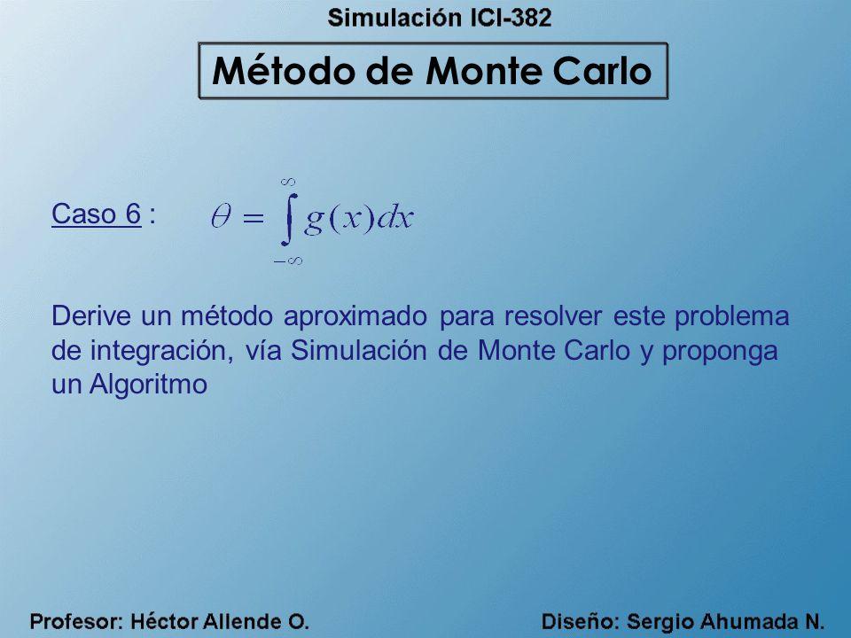 Caso 6 : Derive un método aproximado para resolver este problema de integración, vía Simulación de Monte Carlo y proponga un Algoritmo Método de Monte