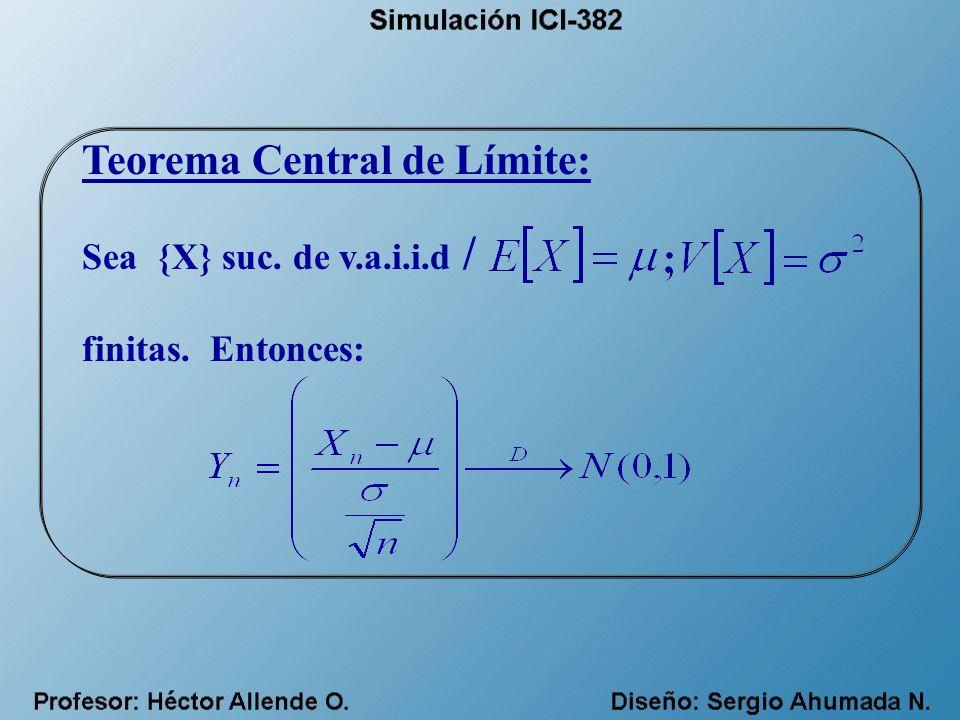 Teorema Central de Límite: Sea {X} suc. de v.a.i.i.d / finitas. Entonces: