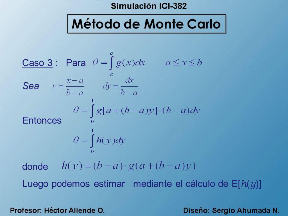 Caso 3 : Para Sea Entonces donde Luego podemos estimar mediante el cálculo de E[ h ( y )] Método de Monte Carlo