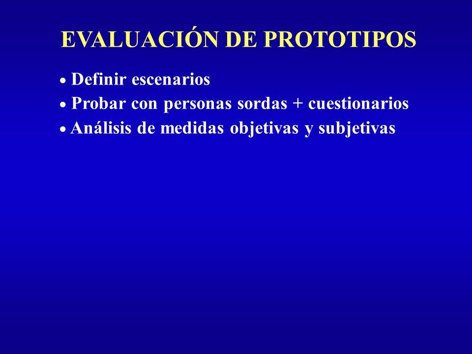 EVALUACIÓN DE PROTOTIPOS Definir escenarios Probar con personas sordas + cuestionarios Análisis de medidas objetivas y subjetivas
