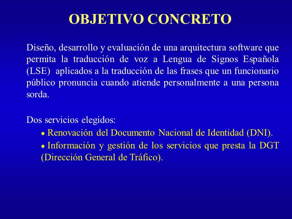 OBJETIVO CONCRETO Diseño, desarrollo y evaluación de una arquitectura software que permita la traducción de voz a Lengua de Signos Española (LSE) apli