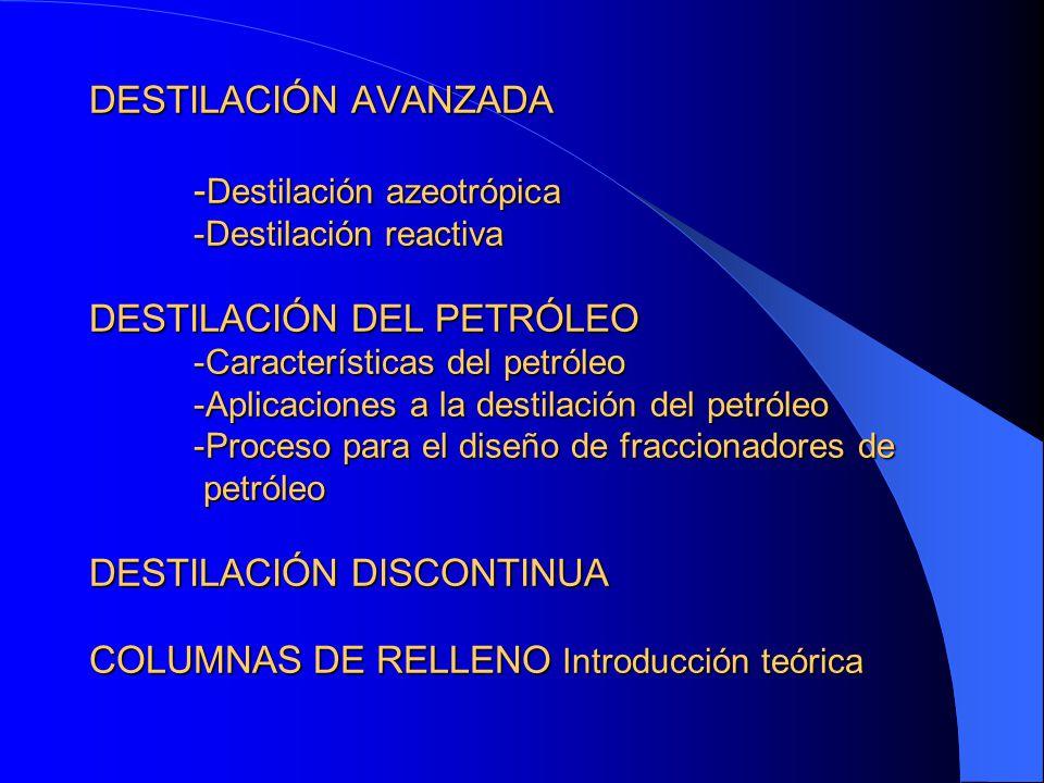 DESTILACIÓN AVANZADA - Destilación azeotrópica -Destilación reactiva DESTILACIÓN DEL PETRÓLEO -Características del petróleo -Aplicaciones a la destila