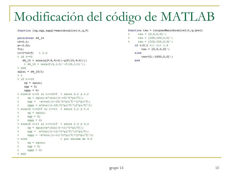 grupo 16 10 Modificación del código de MATLAB