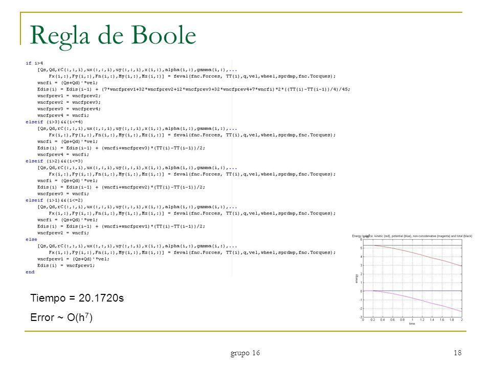 grupo 16 18 Regla de Boole Tiempo = 20.1720s Error ~ O(h 7 )