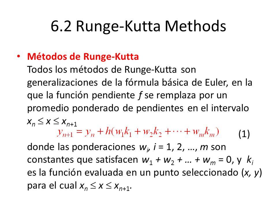 6.2 Runge-Kutta Methods Métodos de Runge-Kutta Todos los métodos de Runge-Kutta son generalizaciones de la fórmula básica de Euler, en la que la función pendiente f se remplaza por un promedio ponderado de pendientes en el intervalo x n x x n+1 (1) donde las ponderaciones w i, i = 1, 2, …, m son constantes que satisfacen w 1 + w 2 + … + w m = 0, y k i es la función evaluada en un punto seleccionado (x, y) para el cual x n x x n+1.