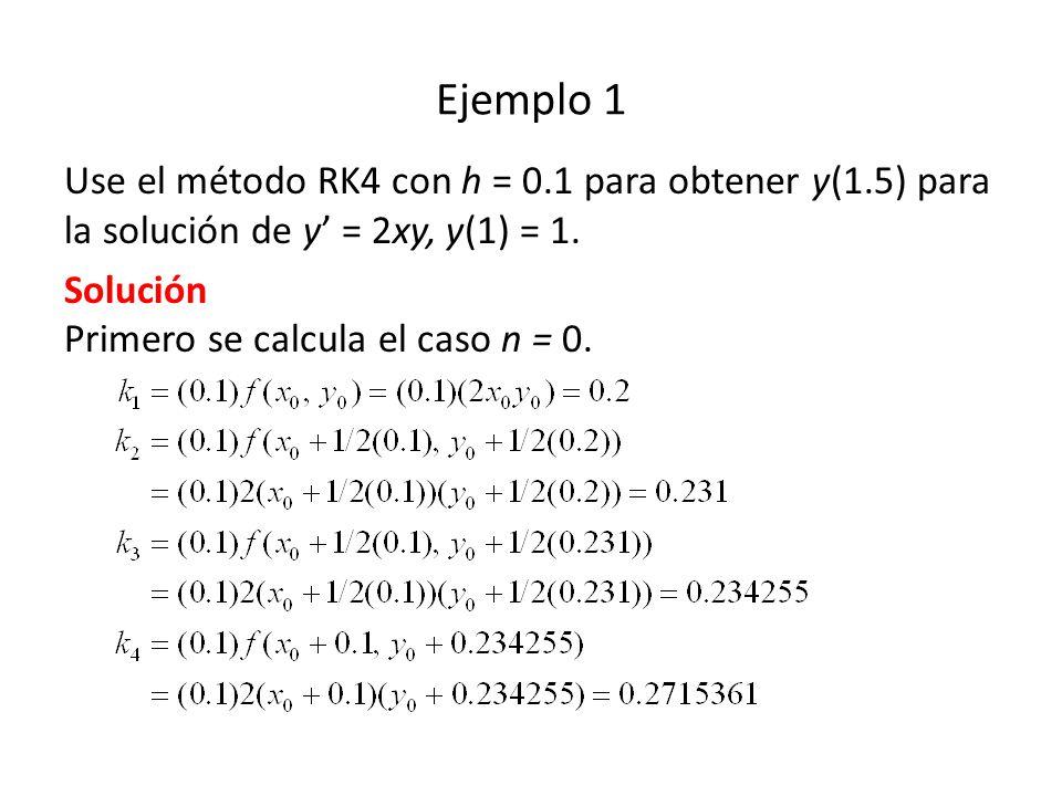 Ejemplo 1 Use el método RK4 con h = 0.1 para obtener y(1.5) para la solución de y = 2xy, y(1) = 1.