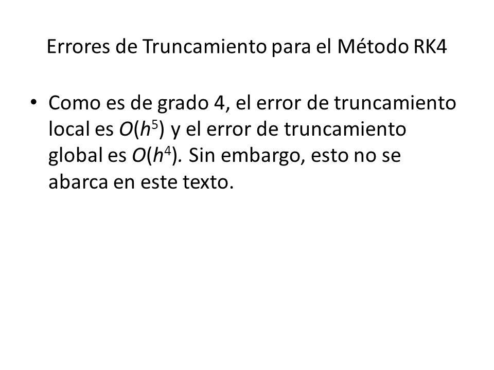 Errores de Truncamiento para el Método RK4 Como es de grado 4, el error de truncamiento local es O(h 5 ) y el error de truncamiento global es O(h 4 ).