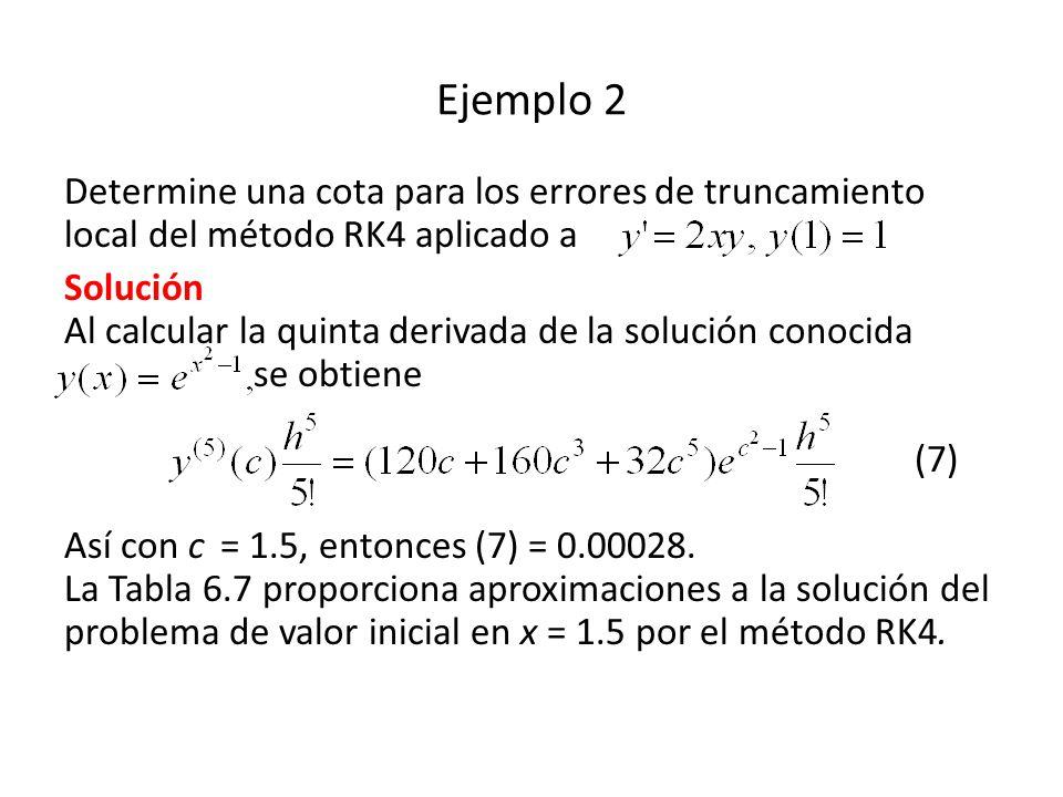 Ejemplo 2 Determine una cota para los errores de truncamiento local del método RK4 aplicado a Solución Al calcular la quinta derivada de la solución conocida se obtiene (7) Así con c = 1.5, entonces (7) = 0.00028.