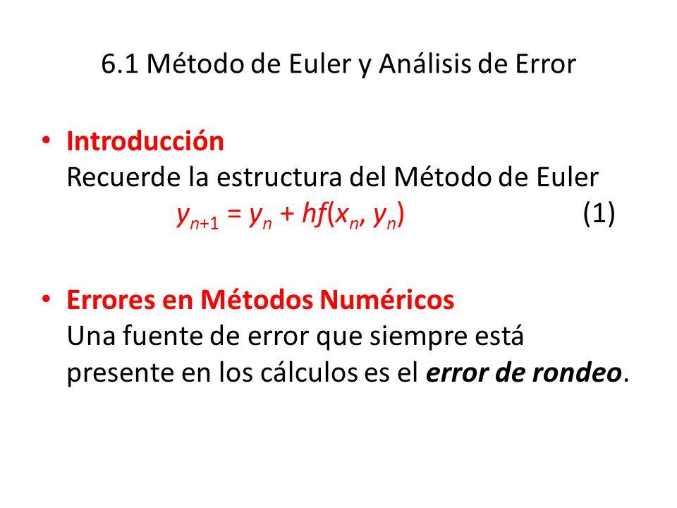 Errores de Truncamiento para el Método de Euler Este logaritmo sólo da una aproximación en línea recta a la solución.