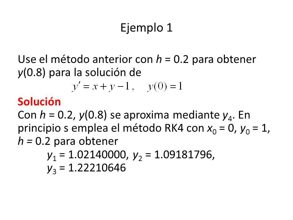 Ejemplo 1 Use el método anterior con h = 0.2 para obtener y(0.8) para la solución de Solución Con h = 0.2, y(0.8) se aproxima mediante y 4.