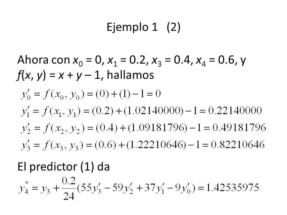 Ejemplo 1 (2) Ahora con x 0 = 0, x 1 = 0.2, x 3 = 0.4, x 4 = 0.6, y f(x, y) = x + y – 1, hallamos El predictor (1) da