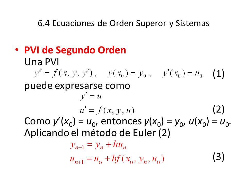 6.4 Ecuaciones de Orden Superor y Sistemas PVI de Segundo Orden Una PVI (1) puede expresarse como (2) Como y(x 0 ) = u 0, entonces y(x 0 ) = y 0, u(x 0 ) = u 0.