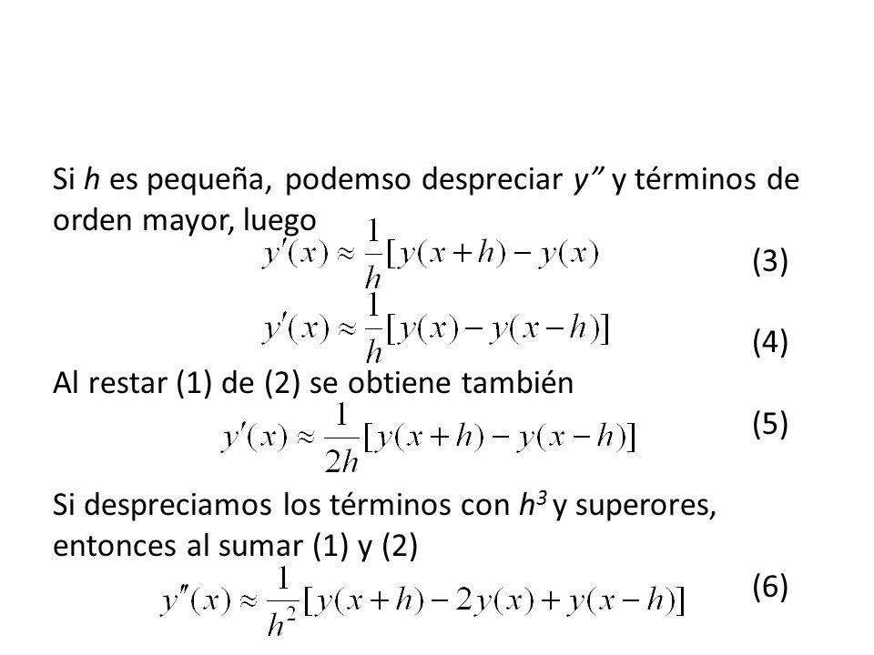 Si h es pequeña, podemso despreciar y y términos de orden mayor, luego (3) (4) Al restar (1) de (2) se obtiene también (5) Si despreciamos los términos con h 3 y superores, entonces al sumar (1) y (2) (6)