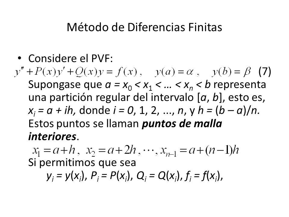 Método de Diferencias Finitas Considere el PVF: (7) Supongase que a = x 0 < x 1 < … < x n < b representa una partición regular del intervalo [a, b], esto es, x i = a + ih, donde i = 0, 1, 2,..., n, y h = (b – a)/n.