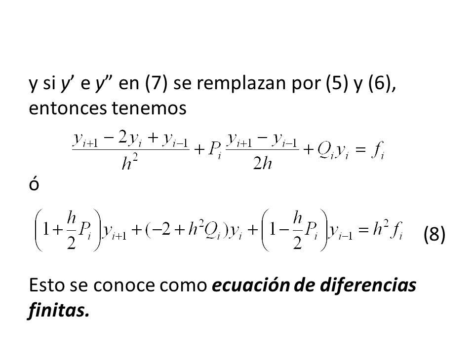 y si y e y en (7) se remplazan por (5) y (6), entonces tenemos ó (8) Esto se conoce como ecuación de diferencias finitas.