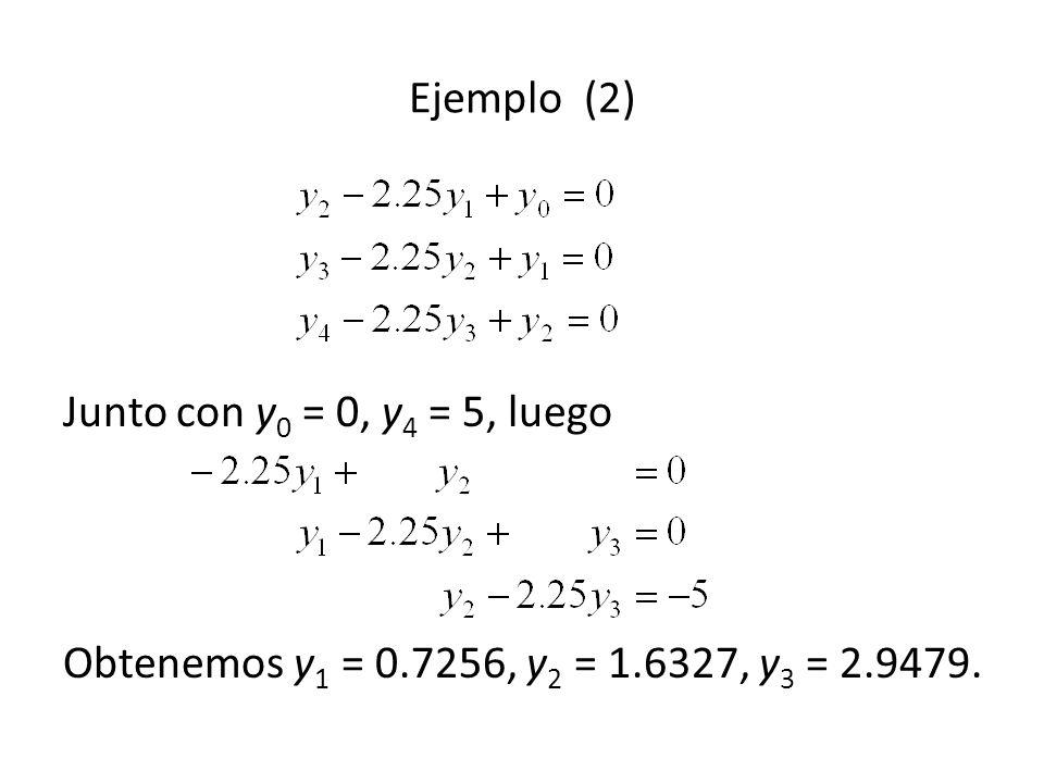 Ejemplo (2) Junto con y 0 = 0, y 4 = 5, luego Obtenemos y 1 = 0.7256, y 2 = 1.6327, y 3 = 2.9479.