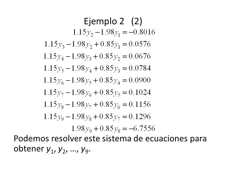 Ejemplo 2 (2) Podemos resolver este sistema de ecuaciones para obtener y 1, y 2, …, y 9.
