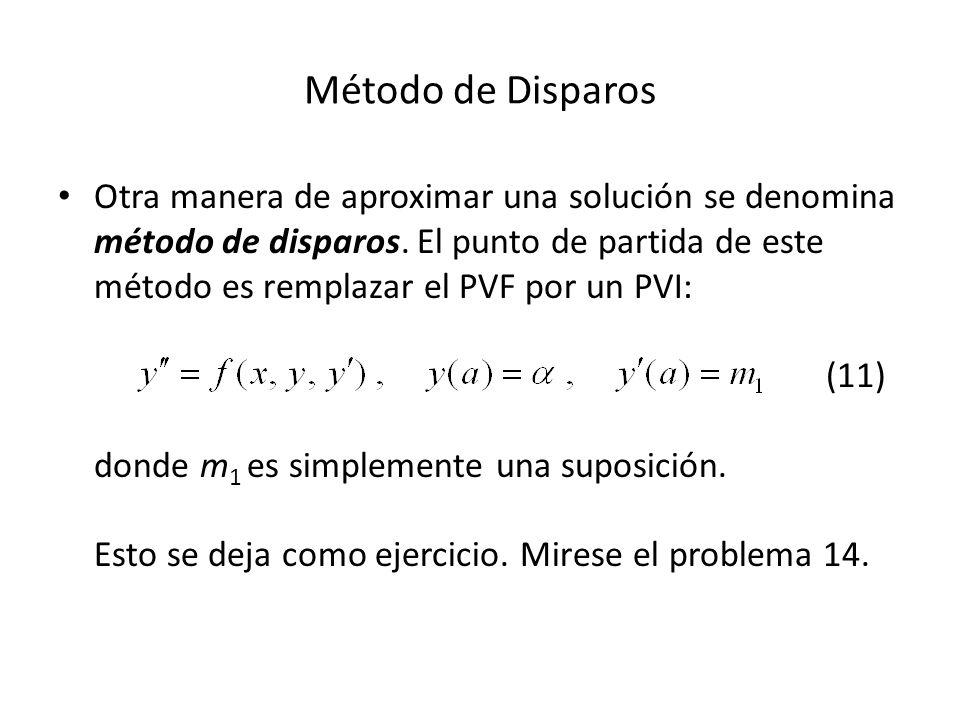 Método de Disparos Otra manera de aproximar una solución se denomina método de disparos.