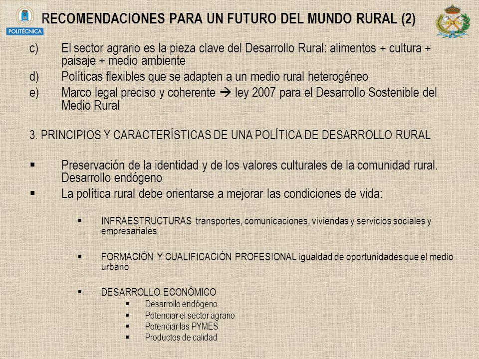 RECOMENDACIONES PARA UN FUTURO DEL MUNDO RURAL (2) c)El sector agrario es la pieza clave del Desarrollo Rural: alimentos + cultura + paisaje + medio a