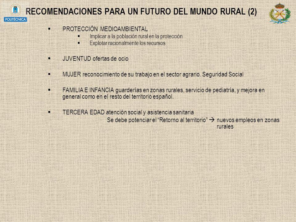 RECOMENDACIONES PARA UN FUTURO DEL MUNDO RURAL (2) PROTECCIÓN MEDIOAMBIENTAL Implicar a la población rural en la protección Explotar racionalmente los
