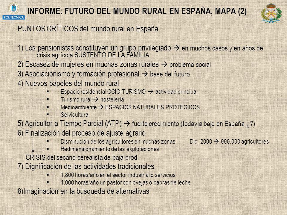 INFORME: FUTURO DEL MUNDO RURAL EN ESPAÑA, MAPA (2) PUNTOS CRÍTICOS del mundo rural en España 1) Los pensionistas constituyen un grupo privilegiado en