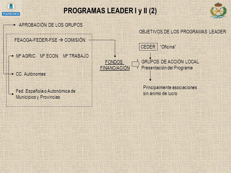 PROGRAMAS LEADER I y II (2) APROBACIÓN DE LOS GRUPOS FONDOS FINANCIACIÓN Mº AGRIC. Mº ECON. Mº TRABAJO CC. Autónomas Fed. Española o Autonómica de Mun