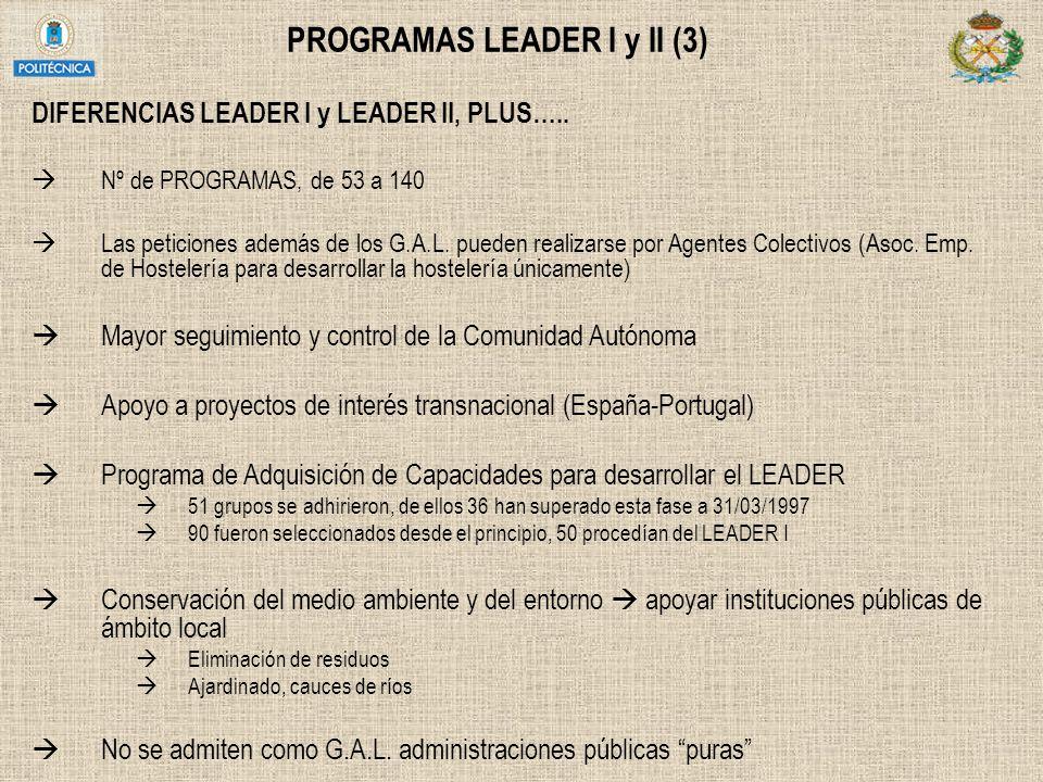 PROGRAMAS LEADER I y II (3) DIFERENCIAS LEADER I y LEADER II, PLUS….. Nº de PROGRAMAS, de 53 a 140 Las peticiones además de los G.A.L. pueden realizar