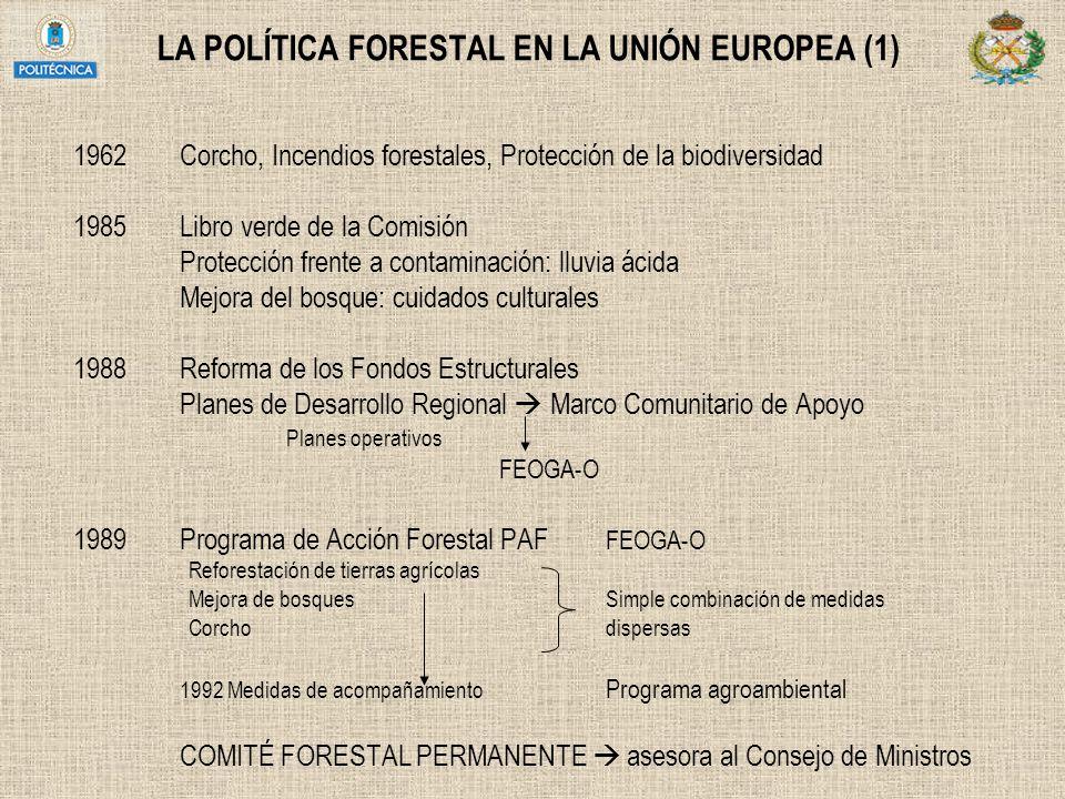 LA POLÍTICA FORESTAL EN LA UNIÓN EUROPEA (1) 1962Corcho, Incendios forestales, Protección de la biodiversidad 1985Libro verde de la Comisión Protecció