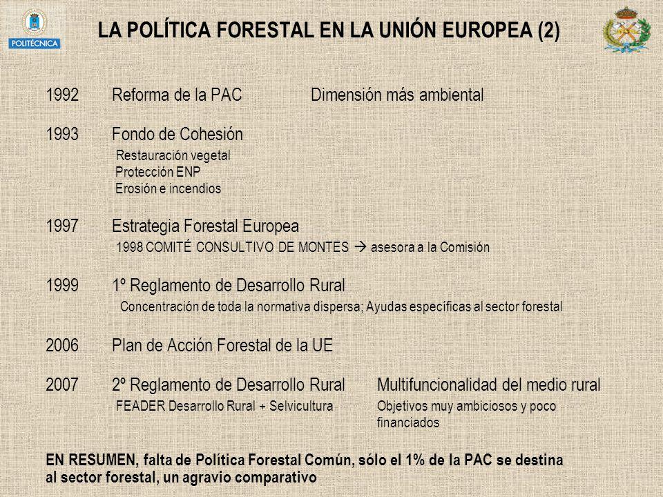 LA POLÍTICA FORESTAL EN LA UNIÓN EUROPEA (2) 1992Reforma de la PACDimensión más ambiental 1993Fondo de Cohesión Restauración vegetal Protección ENP Er