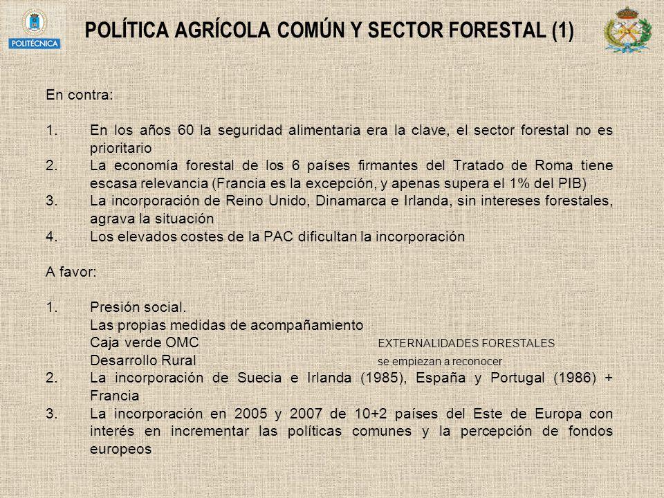POLÍTICA AGRÍCOLA COMÚN Y SECTOR FORESTAL (1) En contra: 1.En los años 60 la seguridad alimentaria era la clave, el sector forestal no es prioritario
