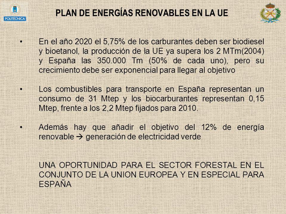 PLAN DE ENERGÍAS RENOVABLES EN LA UE En el año 2020 el 5,75% de los carburantes deben ser biodiesel y bioetanol, la producción de la UE ya supera los