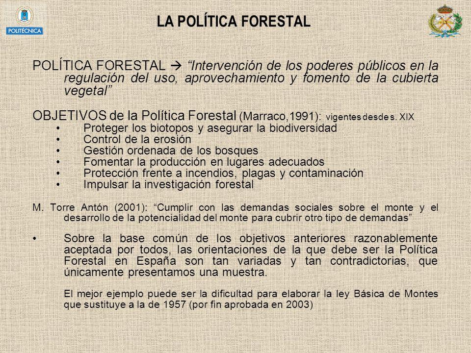 LA POLÍTICA FORESTAL POLÍTICA FORESTAL Intervención de los poderes públicos en la regulación del uso, aprovechamiento y fomento de la cubierta vegetal
