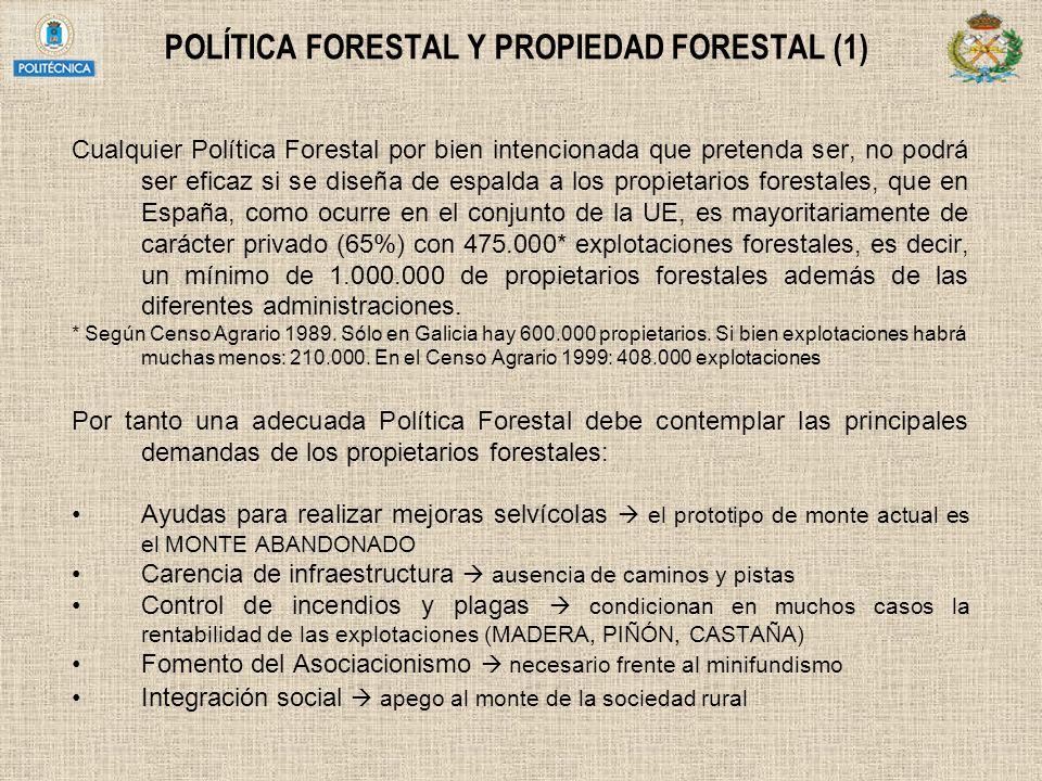 POLÍTICA FORESTAL Y PROPIEDAD FORESTAL (1) Cualquier Política Forestal por bien intencionada que pretenda ser, no podrá ser eficaz si se diseña de esp