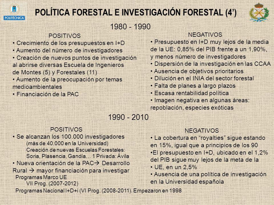 POLÍTICA FORESTAL E INVESTIGACIÓN FORESTAL (4) 1980 - 1990 POSITIVOS Crecimiento de los presupuestos en I+D Aumento del número de investigadores Creac