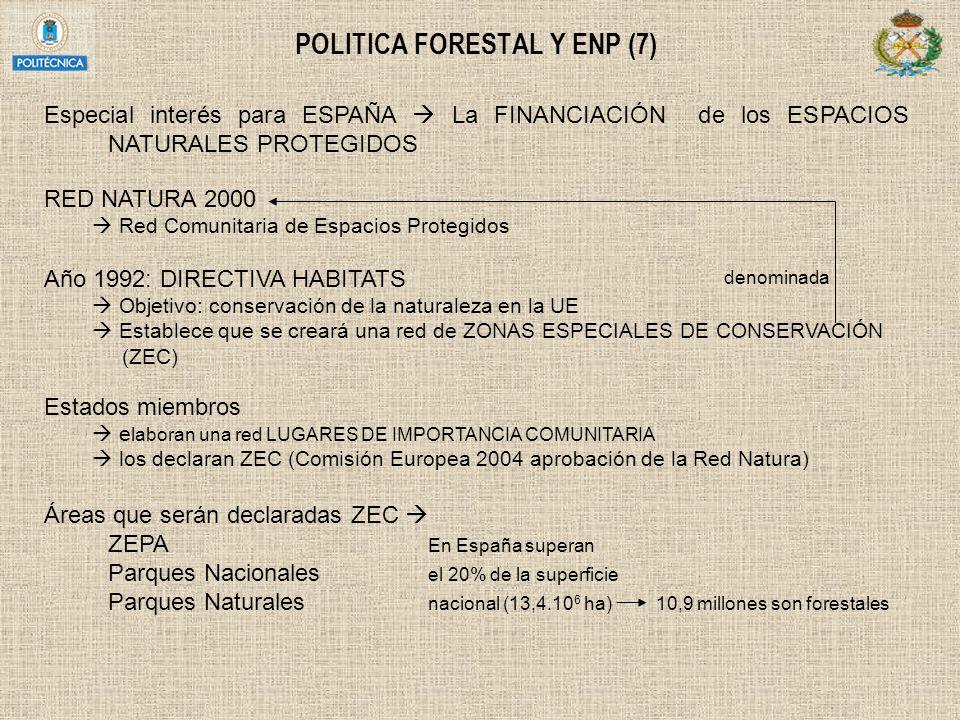 POLITICA FORESTAL Y ENP (7) Especial interés para ESPAÑA La FINANCIACIÓN de los ESPACIOS NATURALES PROTEGIDOS RED NATURA 2000 Red Comunitaria de Espac
