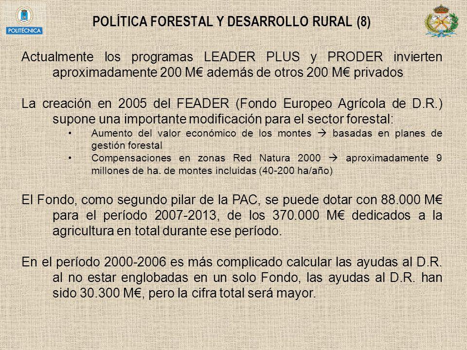 POLÍTICA FORESTAL Y DESARROLLO RURAL (8) Actualmente los programas LEADER PLUS y PRODER invierten aproximadamente 200 M además de otros 200 M privados