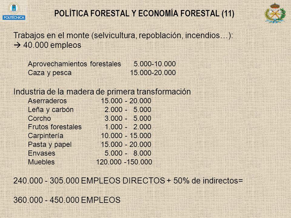 POLÍTICA FORESTAL Y ECONOMÍA FORESTAL (11) Trabajos en el monte (selvicultura, repoblación, incendios…): 40.000 empleos Aprovechamientos forestales 5.